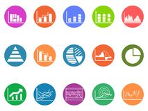 Graph chart round button icons set Royalty Free Stock Photos