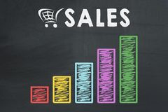 Graph chart showing growth of sales. On black chalkboard Stock Photography