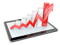 Graph and chart on tablet pc - Business statistic concept. 3d image isolated on a white background Royalty Free Stock Photography