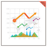 Graph chart vector set percent business Top map world Stock Images