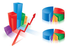 Graph Charts. This image is a vector file representing a 3d Pie Chart,  all the elements can be scaled to any size without loss of resolution Stock Image