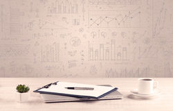 Free Graph Charts And Designer Office Desk Stock Photography - 65441932