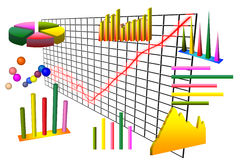 Graph and charts over grid Royalty Free Stock Photography