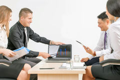 Graph and charts on table during business meeting Royalty Free Stock Photography