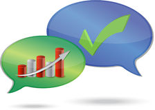 Graph and checkmark dialog illustration design Royalty Free Stock Image