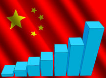 Graph and Chinese flag Stock Photos