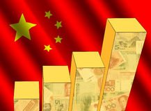 Graph with Chinese flag. Bar chart and rippled Chinese flag with currency illustration Stock Photography