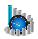 A graph with clock a business concept Royalty Free Stock Photos