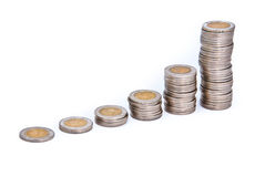 Graph of coins Royalty Free Stock Photo