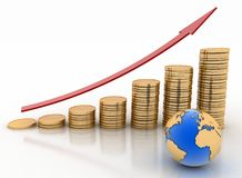 Graph from coins with arrow and globe. Global success concept Stock Photo