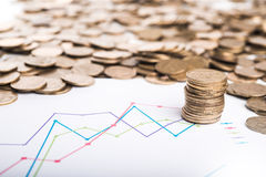 Graph and coins Royalty Free Stock Photo