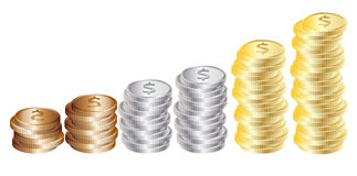 Graph from coins: gold, silver, bronze Royalty Free Stock Images