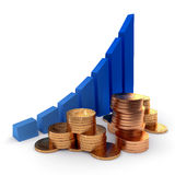 Graph and coins. Graph of successful growth of business and gold coins Royalty Free Stock Photos