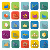 Graph color icons with long shadow Royalty Free Stock Photography