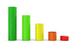 Graph of colorful wood blocks Royalty Free Stock Photos