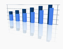 Graph of columns of dark blue Stock Images