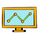 Graph on the computer monitor icon, icon cartoon. Graph on the computer monitor icon in icon in cartoon style isolated vector illustration Stock Photography