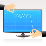 Graph on computer screen. Illustration of erratic  downward movement of debt or other quantity on modern computer screen with fingers holding the upper and lower Royalty Free Stock Images