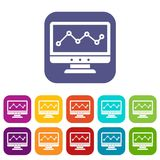 Graph in computer screen icons set Stock Images