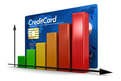 Graph with Credit Card (clipping path included) Stock Photography