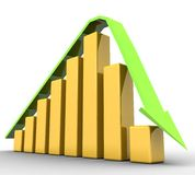 Graph of the crisis with an arrow Royalty Free Stock Photography