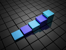Graph with cubes rendered Royalty Free Stock Photos
