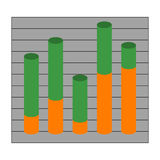 Graph with cylindrical columns Royalty Free Stock Photo