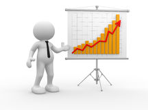 Graph. 3d people - man, person with a graph financial. Businessman Royalty Free Stock Photo