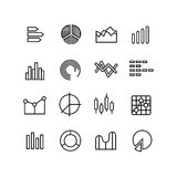 Graph, data chart, statistics representation, business diagram vector thin line icons Royalty Free Stock Photo