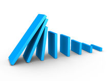 Graph descending and domino effect. 3d blue graph descending and domino effect Royalty Free Stock Images