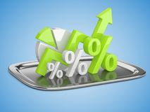 Graph, diagram and green percent signs on a square restaurant cl Stock Images