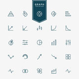 25 graph and diagram minimal line icons Stock Photography
