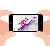 Graph 2015 Displays Financial Forecast Projecting Growth. Graph 2015 Displaying Financial Forecast Projecting Growth Stock Photo