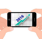 Graph 2016 Displays Forecast Of Rising Sales Royalty Free Stock Image