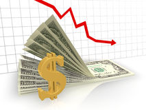 The graph of the dollar. Gold dollar sign and the bills red on a background graphic Stock Photo