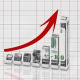 Graph dollar concept. Abstract graph concept grow dollar to finance market Stock Images