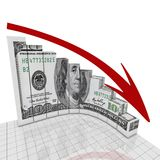 Graph dollar round corner Royalty Free Stock Photos