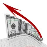 Graph dollar round corner Royalty Free Stock Image