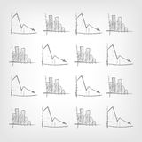 Graph Down. Cartoon Graph Down on Grey Gradient Background. Vector EPS 10 Stock Photos