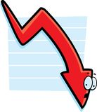 Graph Down. A red cartoon arrow going down on a graph vector illustration