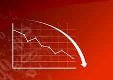 Graph down. Red graph is going down Royalty Free Stock Photo