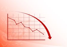 Graph down. Red graph is falling down on the white background Royalty Free Stock Photos
