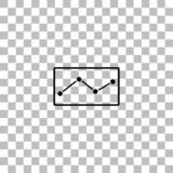 Graph down icon flat. Graph down. Black flat icon on a transparent background. Pictogram for your project royalty free illustration