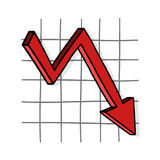 Graph down illustration. Downward trend; Business graph Royalty Free Stock Image