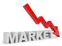Graph down market arrow. Stock Photography