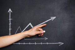 Graph drawn on chalkboard and hand showing direction Royalty Free Stock Photography