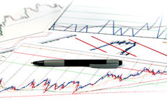 Graph of economics. Close - up Royalty Free Stock Photo