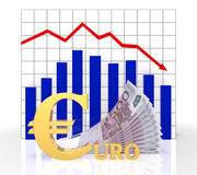 The graph of the euro. The sign of the euro and the currency exchange rate chart with banknotes Royalty Free Stock Photo