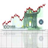 Graph euro concept. Abstract graph concept growing euro to finance market Royalty Free Stock Image