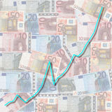 Graph on euro currency Royalty Free Stock Images